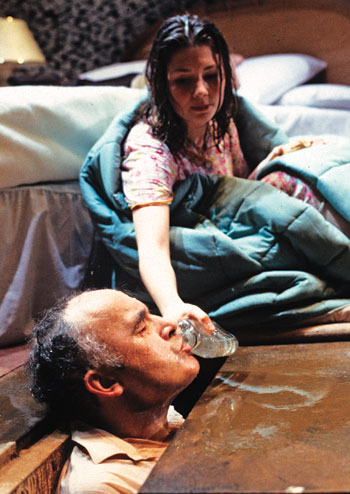 Sarah Kane's Blasted at London's Royal Court in 1995, with Pip Donaghy and Kate Ashfield. Photo: Tristram Kenton