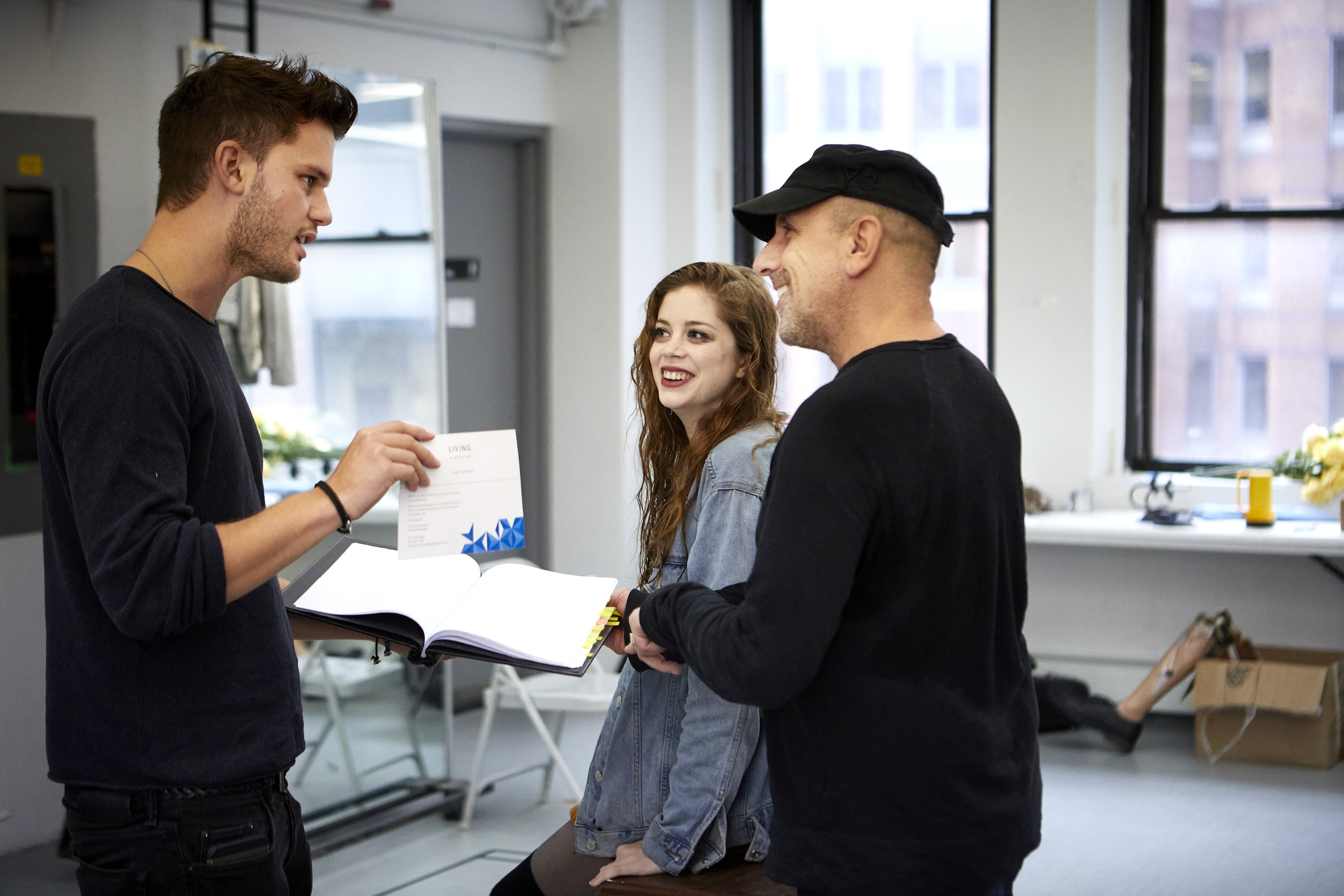 Jeremy Irvine and Charlotte Hope with director Scott Elliott in rehearsals for Buried Child. Photo: Serge Nivelle