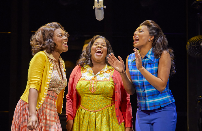 Ibinabo Jack, Amber Riley and Liisi LaFontaine in Dreamgirls at the Savoy Theatre. Photo: Brinkhoff/Moogenburg.jpg