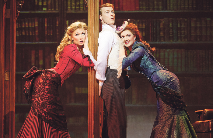 Strallen, Jeff Kready and Catherine Walker in A Gentleman's Guide to Love and Murder at the Walter Kerr Theatre, New York, in 2015. Photo: Joan Marcus