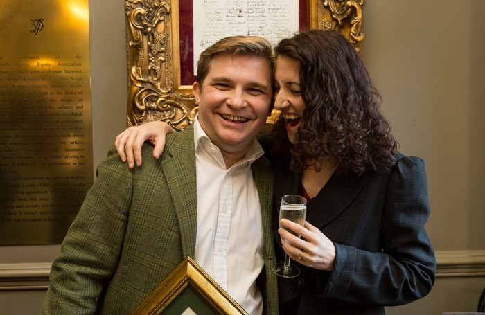 Jonathan Broadbent with his wife Laura Moody at the Clarence Derwent Awards 2016