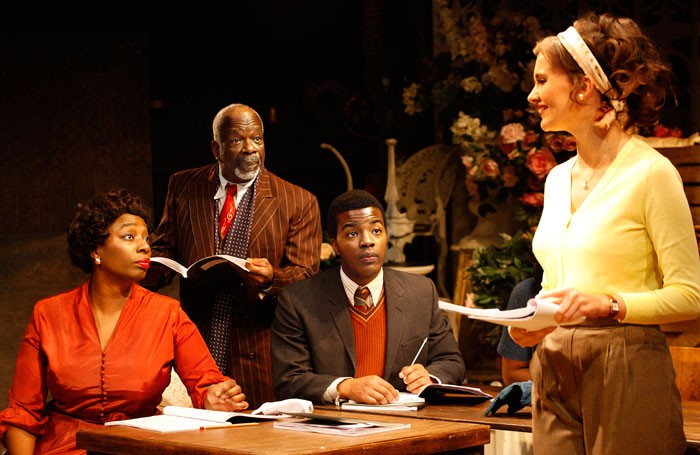 Tanya Moodie, Joseph Marcell, Daniel-Ezra and Emily Barber in Trouble in Mind at the Ustinov Studio, Bath. Photo: Simon Annand