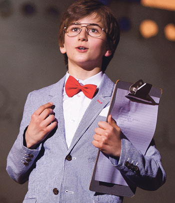Sebastian Croft in The Secret Diary of Adrian Mole Aged 13¾ – TheMusical, at Curve Theatre, Leicester, in 2015, which FionaAllan produced. Photo: Pamela Raith