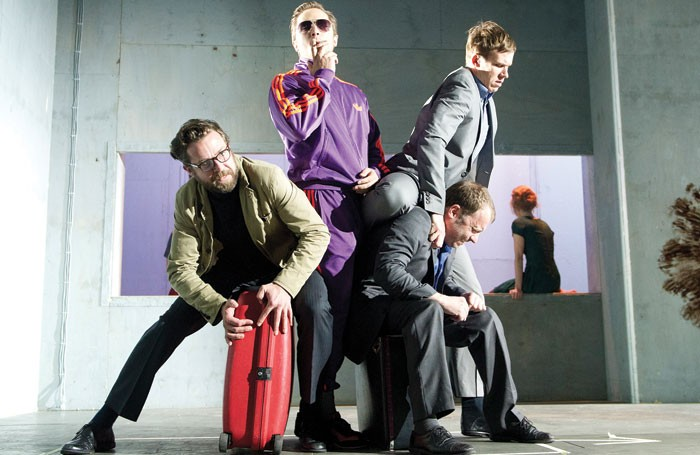 Ferdy Roberts, Lasse Myhr, Nicolas Tennant and Sergo Vares in Simon Stephens' Three Kingdoms at the Lyric Hammersmith in 2012