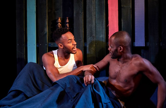 Enyi Okoronkwo and Chin Nyenwe in Boy With Beer at the King's Head Theatre, London. Photo: Theo Chadha