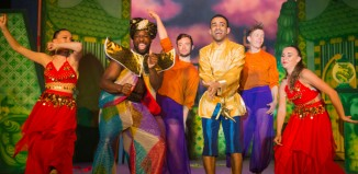 KM Drew Boateng and Abe Jarman in Aladdin at the Waddon Theatre, Croyden. Photo: James Spicer