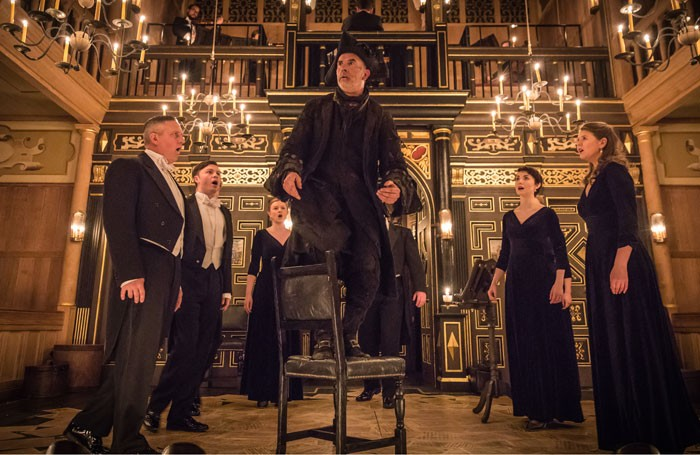 Sean Campion and members of Genesis Sixteen in All the Angels: Handel and the First Messiah at Sam Wanamaker Playhouse. Photo: Marc Brenner