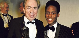 Andrew Lloyd Webber and Tyrone Huntley at the London Evening Standard Theatre Awards 2016. Photo: Dave Benett/Getty Images