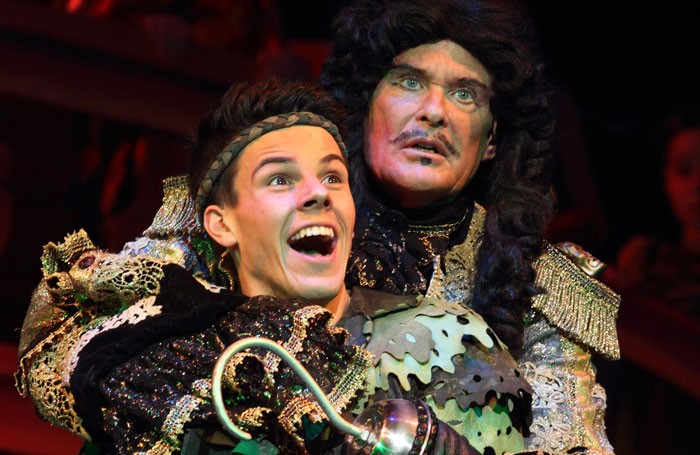 David Hasselhoff and Matthew Chase in Peter Pan at Cardiff's New Theatre. Photo: Brian Tarr