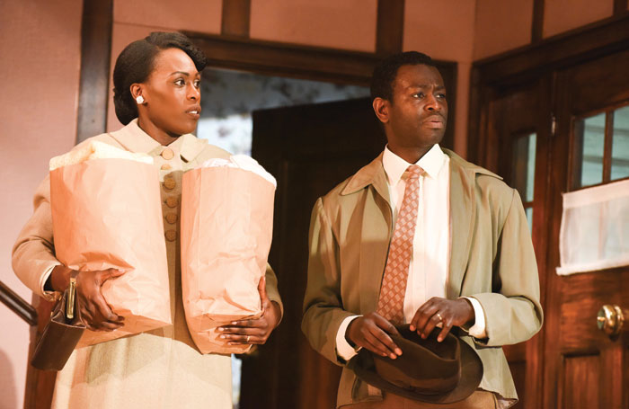 Gloria Onitiri and Wole Sawyerr in Clybourne Park at the Mercury Theatre. Photo: Robert Day