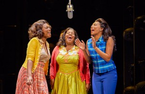 Ibinabo Jack, Amber Riley and Liisi-LaFontaine in Dreamgirls at the SavoyTheatre. London. Photo: Brinkhoff Mogenburg