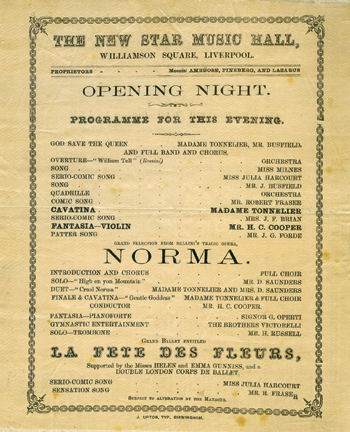 A programme for Norma, which opened the Star Music Hall in 1866. Photo: Ian Cowell/Arthur Lloyd