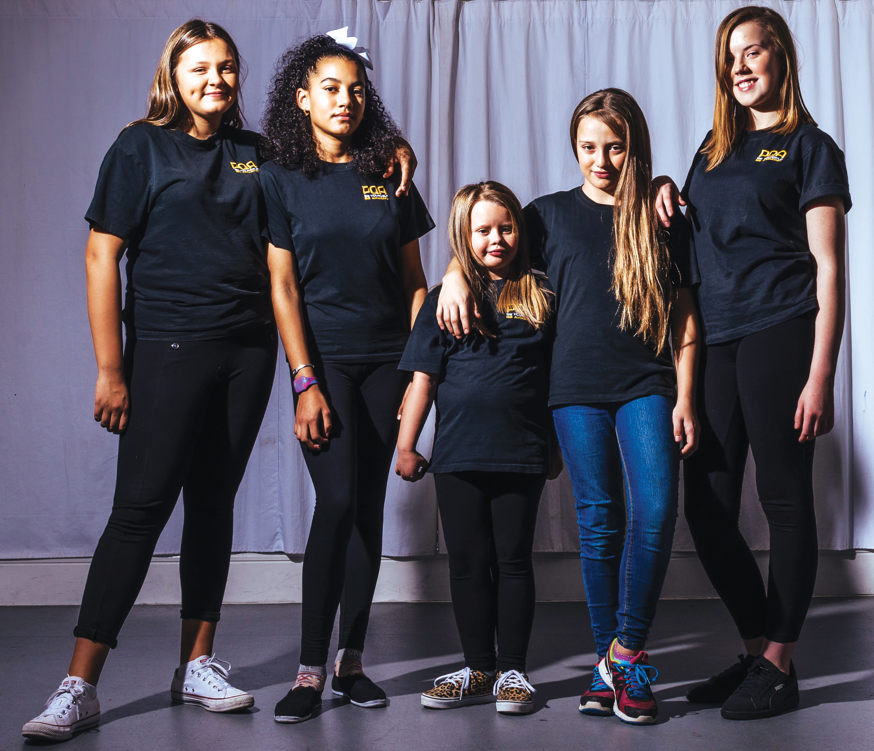Isobel Inniss, Aimee Krubally, Ellie Loveridge, Kayleen Powis-Wallen and Shannon Bury. Photo: Alex Brenner