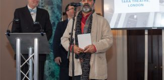 Jatinder Verma, artistic director of Tara Arts, receives the Sustainability Award at The Stage Awards 2017. Photo: Eliza Power