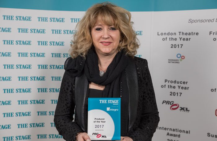 Sonia Friedman at The Stage Awards 2017, held at the Theatre Royal, Drury Lane, London. Photo: David Monteith-Hodge