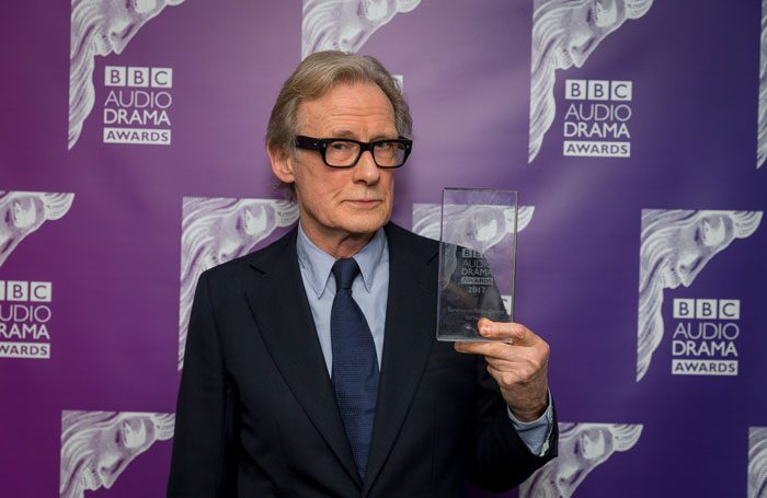 Bill Nighy collecting his special award for services to radio drama at the BBC Audio Drama Awards 2017. Photo: Guy Levy