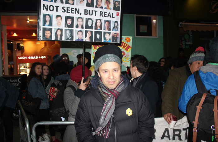 Daniel York at the protest at the Print Room on the opening night of In the Depths of Dead Love. Photo: Georgia Snow