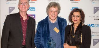 David Edgar, Tom Stoppard and Meera Syal at the Writer's Guild of Great Britain Awards. Photo: Matt Writtle