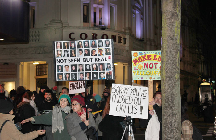 Protesters outside the Print Room, London, at the opening night of Howard Barker's In the Depths of Dead Love. Photo: Georgia Snow