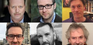 Shortlisted writers for the Liverpool Hope Playwriting Prize (from top, left to right): Simon Bradbury, Christopher Jordan, Gerry Linford, Stewart McDonald, Ian Nightingale and Neil Walden