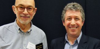 Former Stagetext chair Richard Lee (left) with Jonathan Hassell, his successor