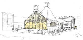 Architect's sketch of the exterior of the proposed Dorchester Maltings
