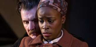 Dorian Lough and Babirye Bukilwa in Filthy Business at Hampstead Theatre. Photo: Dominic Clemence