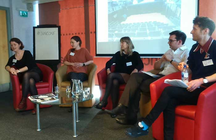 Small Venue Network panel, left to right: Natasha Jones, artistic director of Helmsley Arts Centre; Linzi Tate, programme manager of Carriageworks Theatre in Leeds; Penny Sanders, programme director of Seven Arts, Leeds; David McQuillan, director of Square Chapel Arts Centre in Halifax; Chris Jones, arts officer at Selby Town Hall