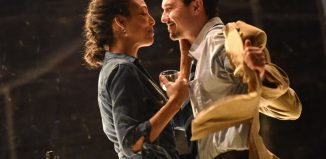 Kemi Bo-Jacobs and Philip Correia in Betrayal at Derby Theatre. Photo: Robert Day