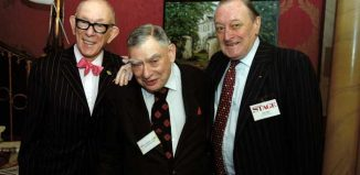 Keith Salberg (centre), with Ali Bongo and Jack Seaton at The Stage New Year Party in 2006. Photo: Doug McKenzie