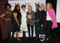Phyllida Lloyd, centre, and Kate Pakenham, far right, with the cast of the Donmar Warehouse's Shakespeare trilogy project. Photo: Adam Bennett