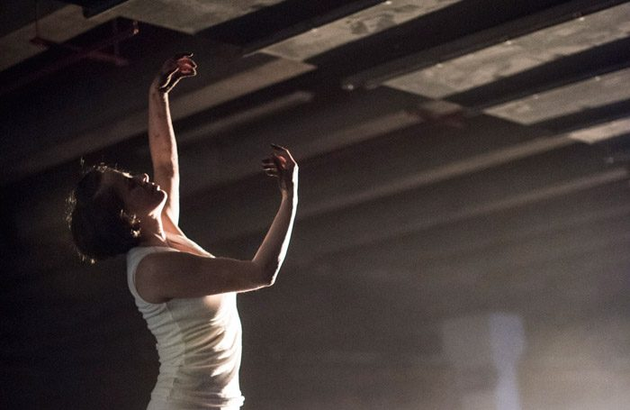 Caroline Sabin in Lifted by Beauty: Adventures in Dreaming at Rhyl Town Centre. Photo: Stephen King/National Theatre Wales