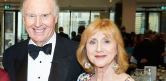 Tim Pigott-Smith with his wife Pamela Miles, who has withdrawn from Death of a Salesman due to injury. Photo: Geraint Lewis