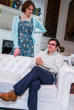 Charlotte Ritchie and Simon Bird in The Philanthropist. Photo: Tristram Kenton