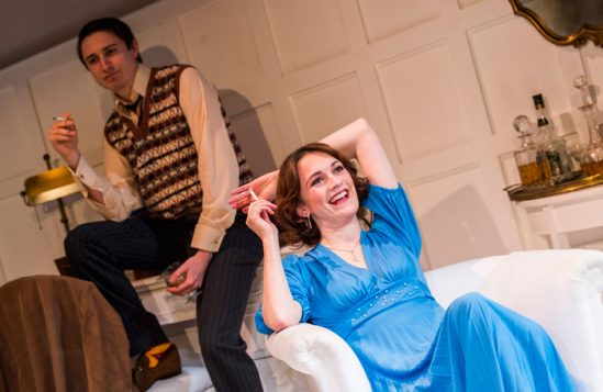 Simon Bird and Charlotte Ritchie in Christopher Hampton's The Philanthropist at Trafalgar Studios. Photo: Tristram Kenton