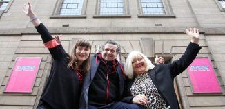Katy Koren, Peter Schaufuss and Karen Koren outside the new Rose Theatre. Photo: David Cheskin
