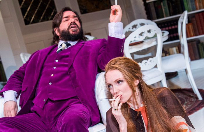 Matt Berry and Lily Cole in The Philanthropist at Trafalgar Studios, London. Photo: Tristram Kenton