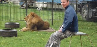 Thomas Chipperfield, who works with animals for touring show An Evening With Lions and Tigers.