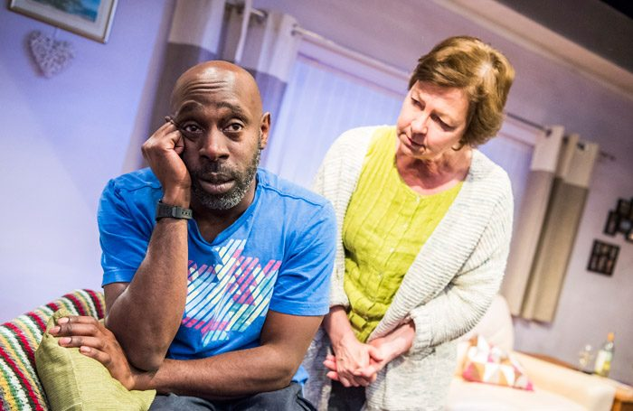 Andrew French and Tessa Peake-Jones in While We're Here at the Bush Theatre, London. Photo: Tristram Kenton