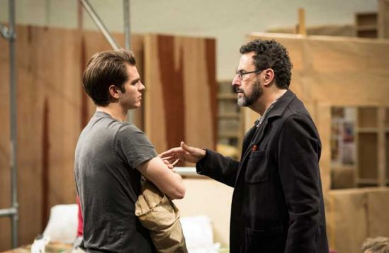 Tony Kushner talks to Andrew Garfield during rehearsals for Angels in America. Photo: Helen Maybanks