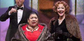 Jonathan Forbes, Miriam Margolyes and Frances Barber in Madame Rubinstein at Park Theatre, London. Photo: Simon Annand