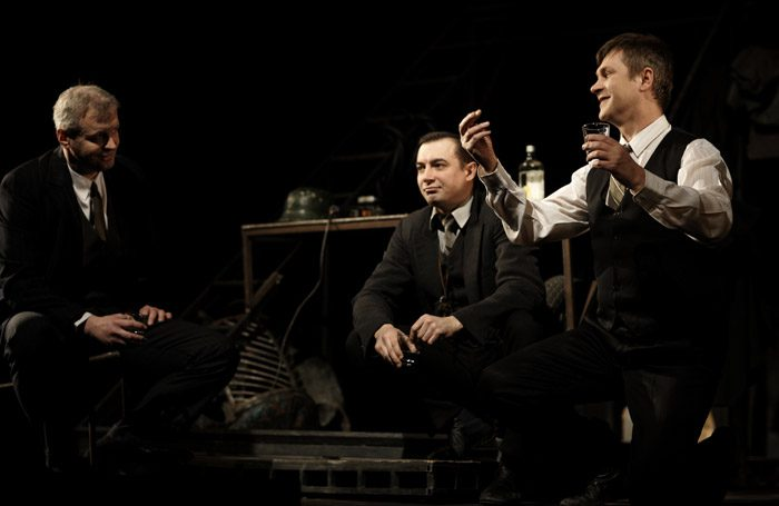 Sergey Yushkevich, Alexander Khovanskiy, Sergei Girin in Three Comrades at Piccadilly Theatre, London