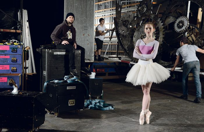 Artist Emily Smith and technical staff with props and equipment to be loaded for Birmingham Royal Ballet's touring production of Cinderella. Photo: Richard Battye