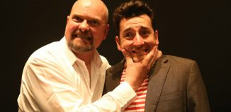 Andrew Westfield and Chris Hannon in Stand Up Stand Up at the Theatre Royal, Wakefield. Photo: Amy Charles Media