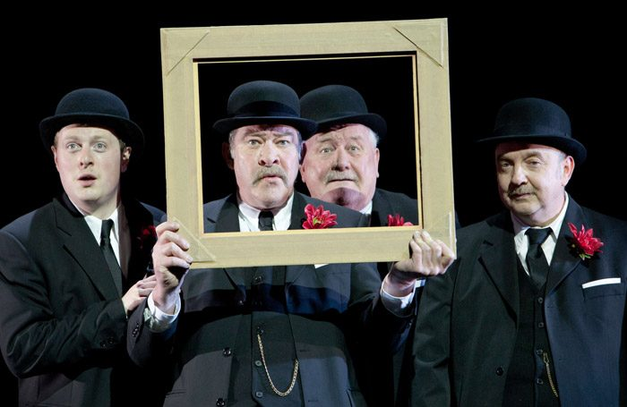 Euan Somers, Joshua Richards, Ian Redford and Tony Cownie in Travels With My Aunt at Citizens Theatre, Glasgow. Photo: Pete Le May