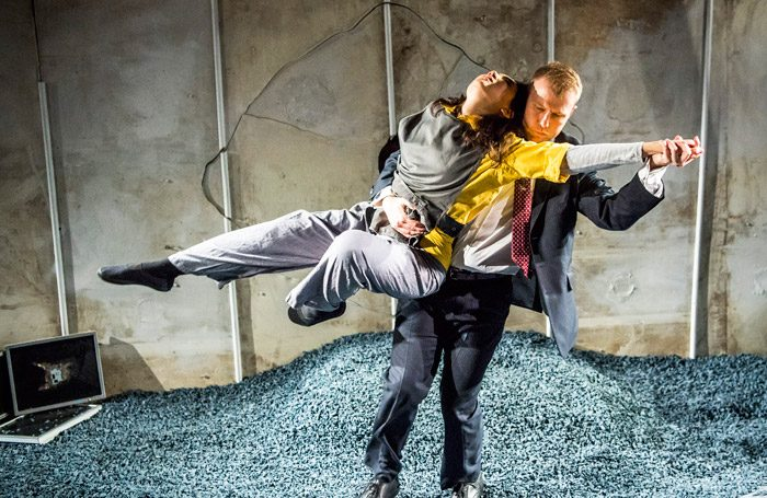 Rebecca Boey and Richard Corgan in The Pulverised at Arcola Theatre, London. Photo: Tristram Kenton