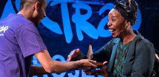 Best actress award winner Noma Dumezweni collects her Mousetrap award at Charing Cross Theatre. Photo: Alex Rumford