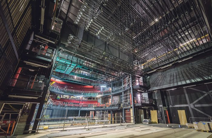 View of the Chester's Storyhouse's new auditorium from the stage, during its construction