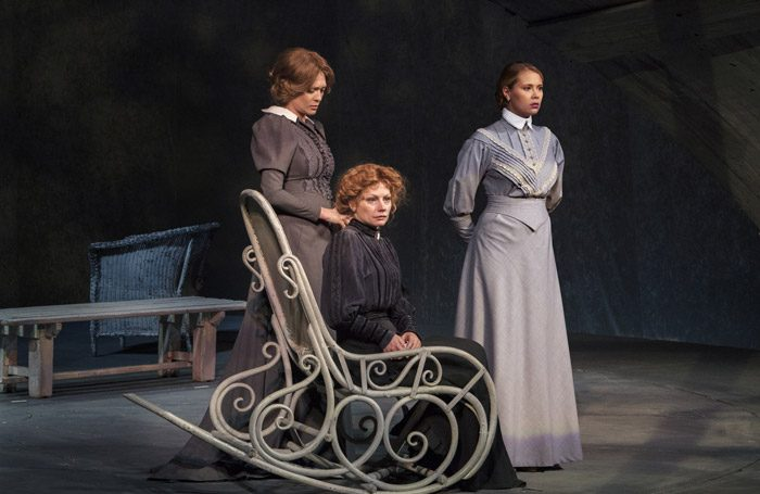 Olga Drozdova, Alyona Babenko, Victoria Romanenko in Three Sisters at Piccadilly Theatre, London. Photo: Sovremennik Theatre