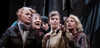 Louise Jameson, Janet Henfrey, Souad Faress, Susan Twist and Denise Black in Winter Hill at the Octagon Theatre, Bolton. Photo: Richard Davenport